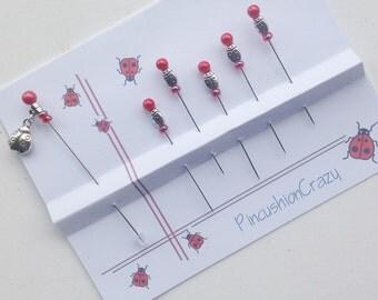 Ladybug Pins - Decorative Sewing Pins - Pincushion Pin - Scrapbook Pins - Cardmaking Pins - Invitations Pins - Tack Board - Sewing