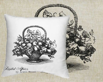 Digital Download Kitchen Collection Vintage Chic Basket Of Fruits Black & White Image For Papercrafts, Transfer, Pillows, Totes, Etc va-009