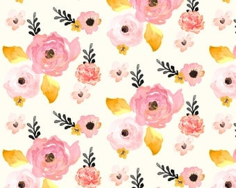 Woodland Floral Fabric Deer Garden Pink By
