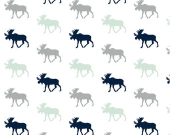 Moose Fabric - Multi Moose / Northern Lights - Grey/Mint/Navy Fabric By Little Arrow Design - Cotton Fabric By The Yard with Spoonflower