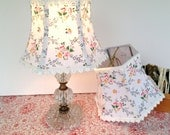 French Lamp Shade, Lampshade Vintage Floral Fabric and Sweet White Crochet Trim, Small Lampshade for Bedroom Shades