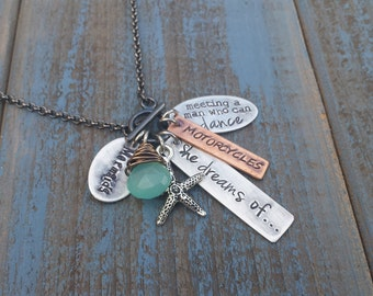 She Dreams Custom Hand Stamped Inspirational Neckace with Mixed Metals, Wire Wrapped Blue Chalcedony Stone, Starfish, and  by MyBella