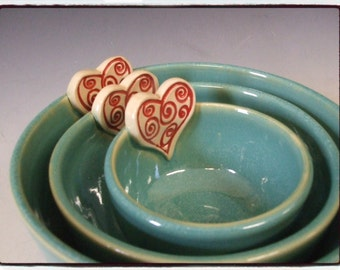 Second Sale-Turquoise Nesting Bowls-Set of Three with Red Heart by misunrie