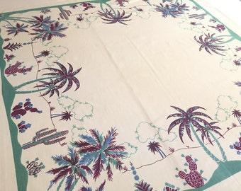 Vintage Florida tablecloth 1930s art deco palm trees cactus mint green souvenir kitsch Floridiana tourist beach cottage