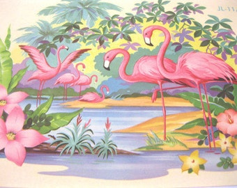 Vintage flamingos decal transfer flamingos hibiscus flowers Meyercord style 1940s 1950s Mid Century extra large