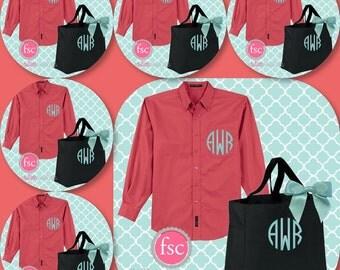 8 bridesmaid oxford shirts and 8 tote bag gift set/ bridesmaid gifts / bridal party gifts / getting ready shirts/ bridesmaid tote bag