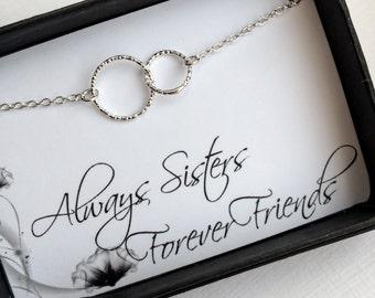 Sterling Silver Sister Bracelet, Sterling Silver Two Entwined Circles Bracelet, Eternity Bracelet, Karma Bracelet, Sisters bracelet