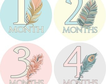 Tribal Feathers Monthly Baby Bodysuit Growth Stickers