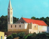 saint george church jaffa- acrylic ORIGINAL painting  on canvas - Churches Urban landscape architecture  - wall art- wall decor- home decor