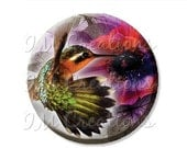 """50% OFF - Pocket Mirror, Magnet or Pinback Button - Wedding Favors, Party themes - 2.25""""- Pretty Humming Bird MR431"""