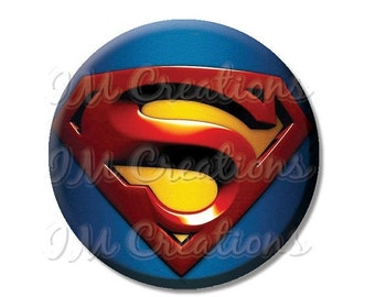 "30% OFF - Superman Hero Pocket Mirror, Magnet or Pinback Button - Favors - 2.25""- MR476"