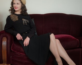 Vintage 1940s Dress - Fabulous Black Rayon Crepe Elaborately Beaded 40s Cocktail Dress with Unique Button Tab Overlay Peplum