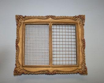 Jewelry Organizer Frame, Gold Frame with Chicken Wire