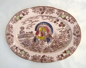 Vintage Large 18x13 Thanksgiving Turkey Serving Platter Brown Transferware Party Tray Decorative Plate Tableware