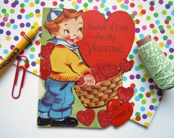 Vintage Unused Valentines Greeting Card Glittered and Flocked Sweet Little Boy with Heart Basket