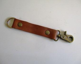 Leather Key Fob Brass Belt Loop Key ring - Keychain solid brass swivel snap - Tan