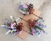 Set of 3 Dried flower hair pins from my new Pine cone and Wildflower collection. For the nature or Woodland theme wedding.