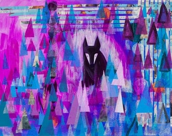 Lone Wolf,  art print, abstract wall art, modern abstract art, animal, wolves, foxes, black fox, purple, abstract landscape art, illustratio