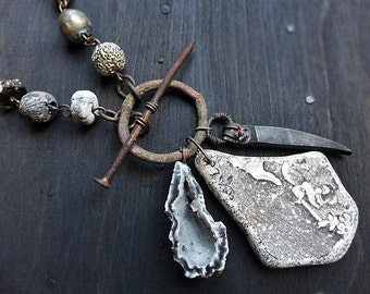 Chronos. Found object necklace with beach pottery and artisan beads. Rustic assemblage jewelry.