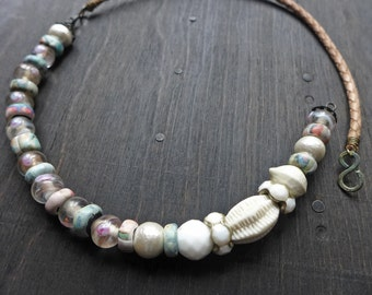 Spectrum. White pastel chunky choker -artisan necklace