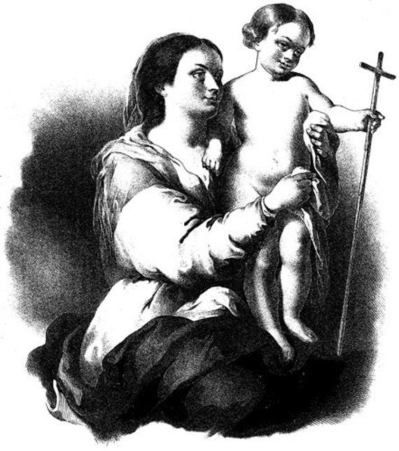mother Mary Jesus boy clip art png Digital Image Download mother child christian religion printable art vintage illustrations