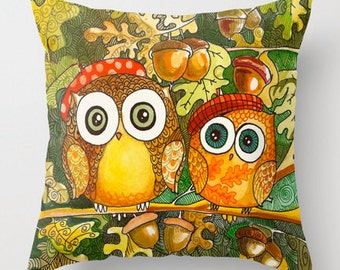 Owls in the woods decorative pillow cover for your home decor