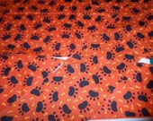 Dog Paws & Candy Corn Fabric Remnants - 3 Pieces - Cotton - Halloween Fabric - Orange and Black - Cut Fabric Pieces - Left Over Fabric