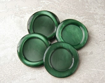 BiG Green Shank Buttons 34mm - 1 1/4 inch Kelly Green Wacky Waffle Rim Vintage Buttons - 4 VTG NOS Green Retro Mod Plastic Coat Button PL516