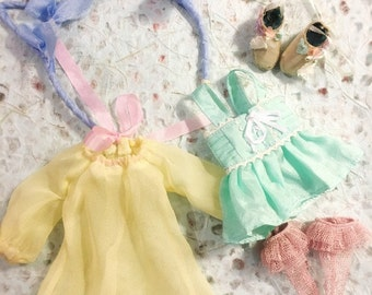 Jiajia Doll 4 Pieces Full Set Silk Meow mint green set fit jerryberry or pullip or Azone or blythe or fashion royalty