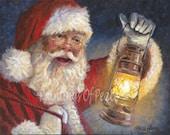 Santa Print - Santa Claus Print-  Christmas Print - Santa with Lantern art - 11 X 14 - FREE Shipping This Month!