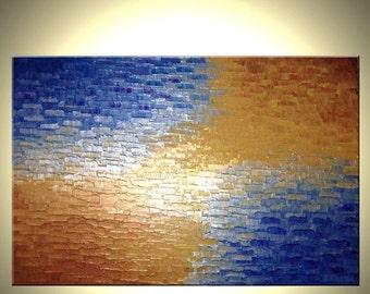 Original Abstract Painting - Gold Metallic Art, Palette Knife Abstract Bronze Modern Textured Art by Lafferty - 24 x 36 - 22% Off Sale