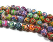 12mm Round Polymer Clay Beads Assorted Variety 50 pieces