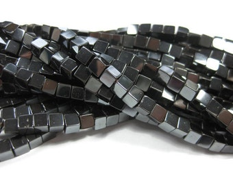 4 mm Cube Non Magnetic Hematite Beads 50 Pieces