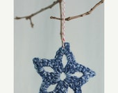 Winter Clearance Christmas ornaments, package tie ons, hand crocheted stars, magenta, white, blue, and grey