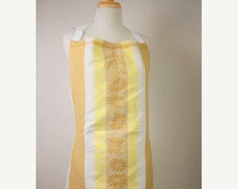Sale apron, full size vintage tea towel, tea towel apron gold, white and yellow