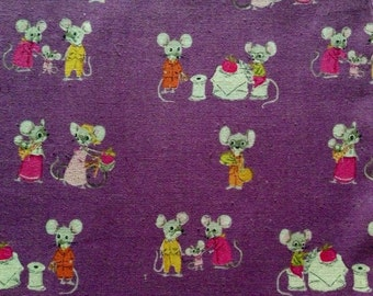 SALE Heather Ross Nursery Versery Mice on Plum
