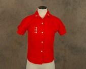 vintage 50s Blouse - 1950s Red Cotton Button Front Shirt - Sz S