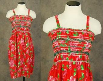 Clearance SALE vintage 70s Dress - Boho Red Floral Sundress - 1970s Smocked Sun Dress XS S