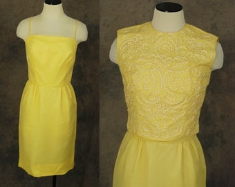vintage 50s Dress and Blouse - 1950s Yellow Chiffon Wiggle Dress and Soutache Ribbon Work Applique Cropped Blouse Sz S