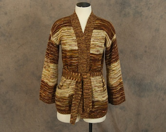 vintage 70s Cardigan - Brown and Tan Striped Space Dyed Wrap Sweater - 1970s Boho Cardigan SZ S M