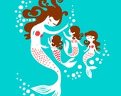 "8X10"" Mermaid Mother and Triplet Daughters giclee print on fine art paper. Teal, pink, dark brunette"