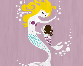 "8X10"" mermaid mother & baby daughter giclee print on fine art paper. Lilac, blonde, dark charcoal brunette. Textured background."