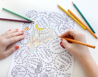 Italian Language Printable Coloring Page - Fruit - Learn Italian in a creative way... by coloring!