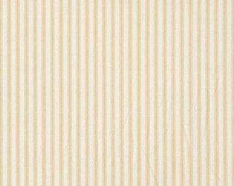 Cream Ticking Stripe Fabric, Beige and Cream Striped Cotton Fabric by Makower for Patchwork and Crafts