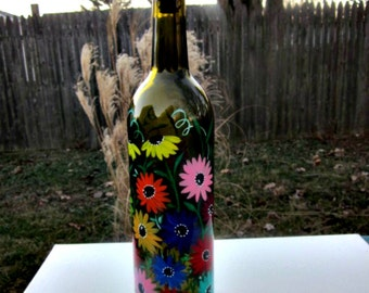 Hand Painted Dish Soap Dispenser, Deep Green Wine Bottle, Big Colorful Flowers Flowers, Wine Bottle Soap Bottle, Oil and Vinegar Bottle