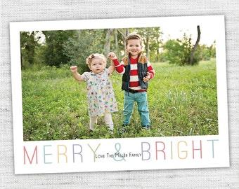 Custom Photo Christmas Card - Simple Merry & Bright