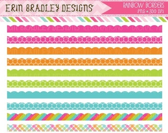 60% OFF SALE Rainbow Borders Clipart Commercial Use Clip Art INSTANT Download