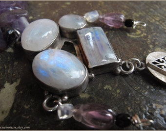 Sterling silver Rainbow Labradorite necklace with Amethyst - Gemstone vintage jewelry