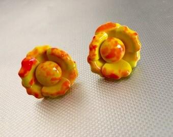 West German Flower Clip Earrings, Bright Orange, Yellow, 1950's Costume Jewelry, Mid Century Jewelry
