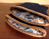 Mens Oven mitts | Blue Denim | Paisley lining | Oven gloves | Hot gloves | Men who cook | Single or set | Choice of Trim - Made to order